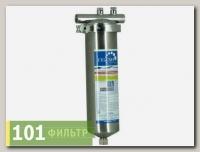 Корпус фильтра Тайфун 10SL (нерж.сталь для горячей воды со сливом, хомут, вход 1/2)